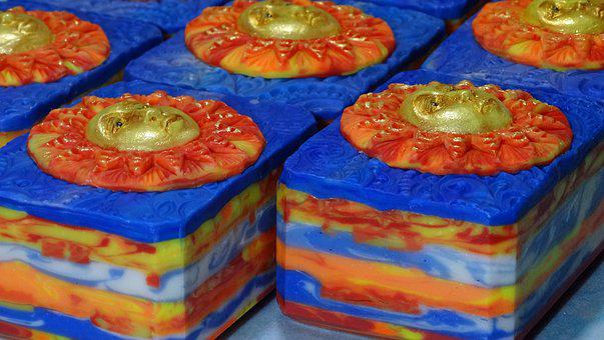 Art Soap, Hand Made, Sun, Gold, Blue, Astrology