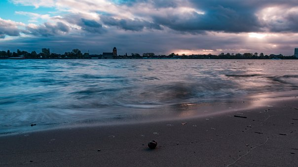 Elbe, Evening, Water, Hamburg, Beach, River, Sky