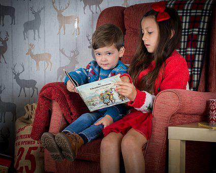 Children Reading, Holiday, Christmas, Book, Read, Kid