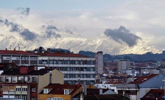 La Sierra Del Aramo Asturias, Snowy Mountain, Landscape
