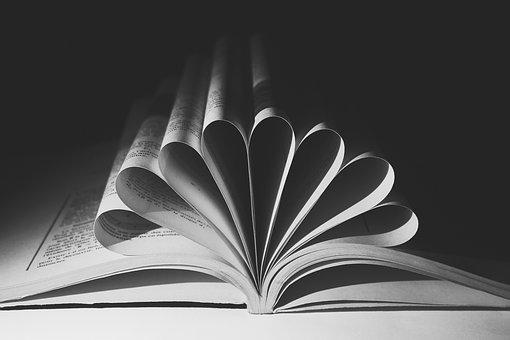 Leaf, Symbol, Book, Open, Torsion, Black And White