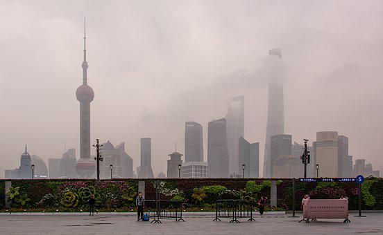 Morning, Mist, Shanghai, China, Skyscrapers, Skyline