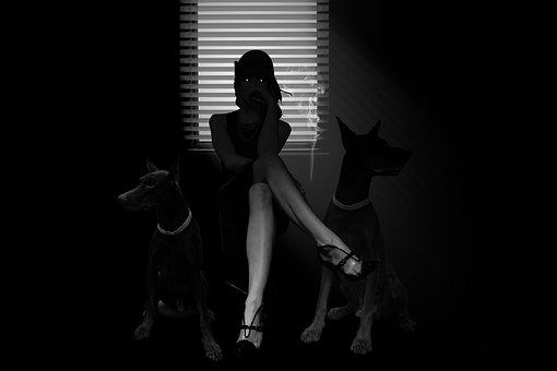 Noir, Femme Fatale, Glamour, Retro, Mysterious, Woman
