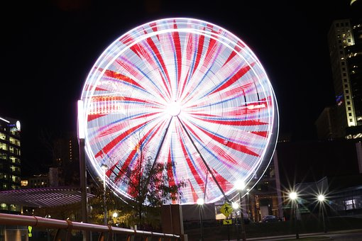 Ferris, Wheel, Night, Amusement, Attraction