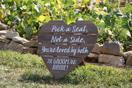 Heart, Sign, Outdoor, Wedding, Decor, Bride, Groom