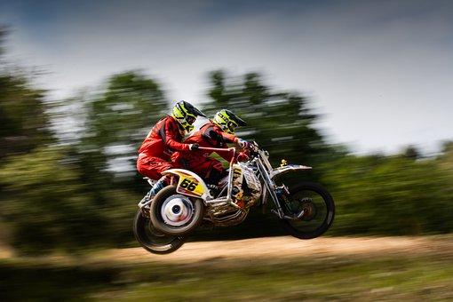 Motocross, Side Car Race, Panning, Speed, Motorsport