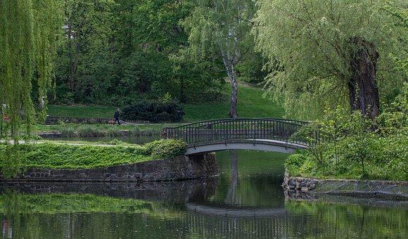 Park, Bridge, Landscape, Nature, Water, Scenic, Lake