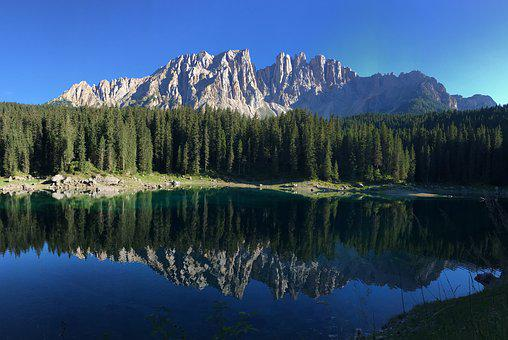 Dolomiti, Carezza, Lake, Landscape, Nature, Reflection