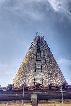 Tower, Chimney, Head, Climb, Sky, Brick, Round