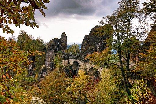 Saxon Switzerland, Saxony, Bastei, Forest, Autumn