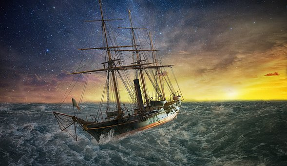 Ship, Forward, Sunset, Sea, Water, Force Of Nature