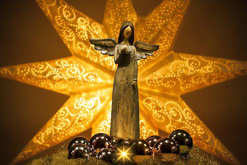 Angel, Star, Shining, Christmas, Hand Labor, Heart
