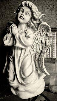 Angel, Sculpture, Statue, Figure, Cemetery, Wing, Stone