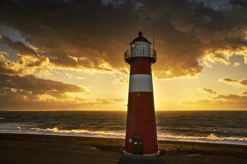 Lighthouse, Lights Up, Beach, North Sea, Surf, Sun