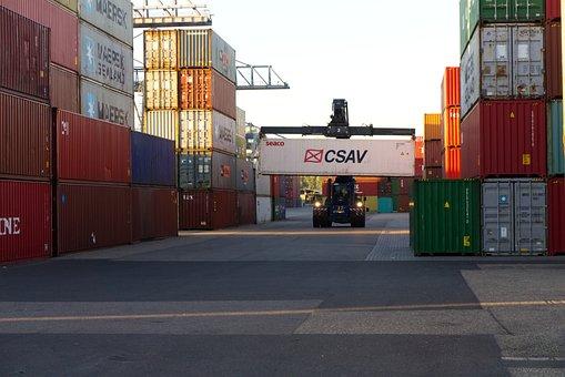 Container, Loading Crane, Sunrise, Port, Loading, Crane