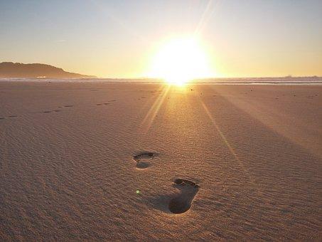 Sun, Beach, Sea, Sand, Sky, Dusk, Twilight, Ferrol