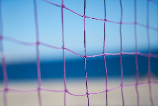 Volleyball, File, Network, Blue, Beach, Equipment
