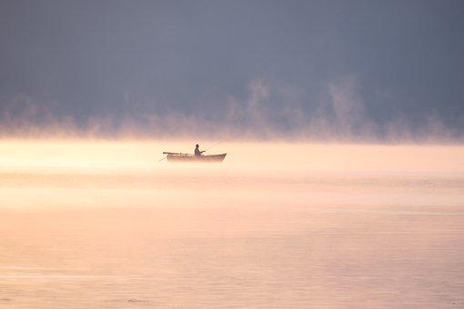 Ammersee, Sunrise, Morning, Boat, Fisherman, Loneliness