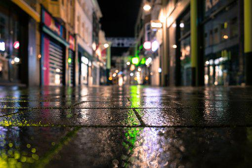 Shopping Street, Reflection, Lighting, Night, City