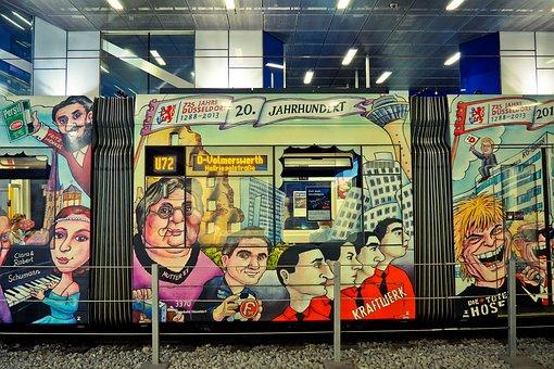 Tram, Painting, Metro, Graffiti, Color, Art, Street Art