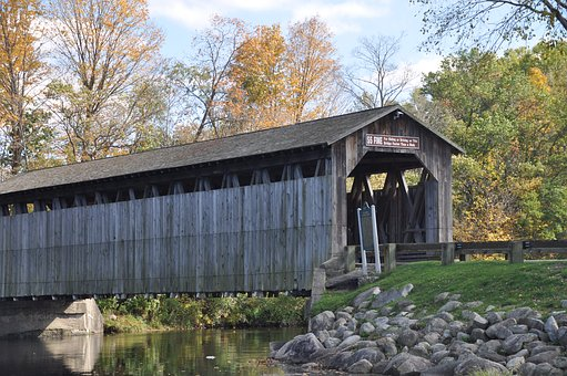 Covered Bridge, River, Water, Bridge, Nature, Sky