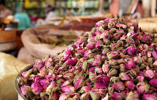 Market, Dried Flowers, Roses Dried, Rosebuds