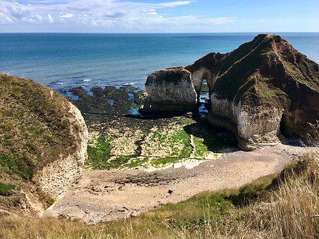 Flamborough, Sea, Seascape, Ocean, Water, Horizon