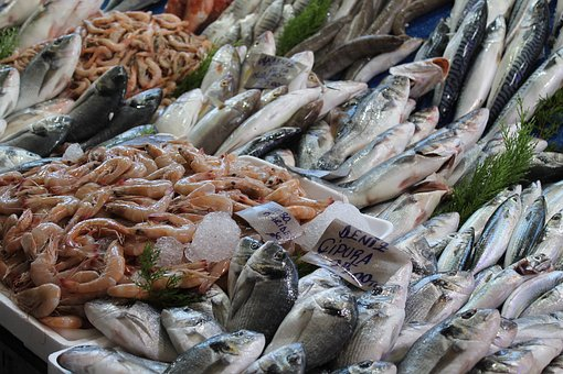 Fish, Seafood, Shrimp, Fresh, Market, The Counter