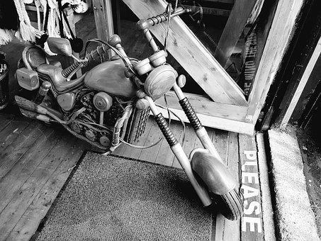Bike, Wooden, Black And White, Greyscale, Old Fashioned