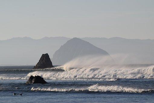Ocean, San Louis Obispo, Morro Rock Beach, Morro Rock