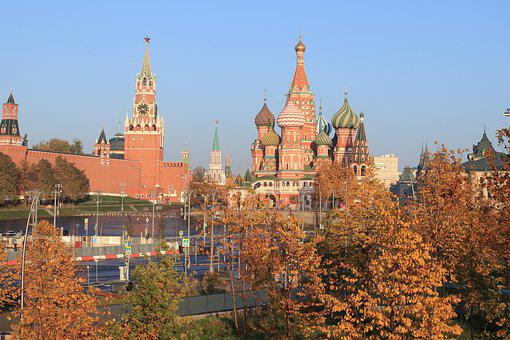 The Kremlin, Moscow, Cathedral, Morning, Autumn, Trees