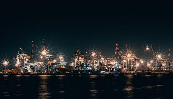 Port Of Haifa, Night, Lights, Sea, Dark, Ship, Ocean