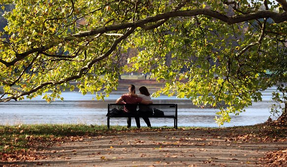 Pair, Bank, Sit, Love, Man, Woman, Together, Romantic