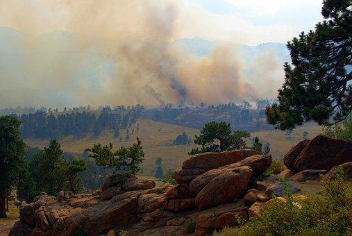 Smoke In The Mountains, Fire, Smoke, Trees, Rocks
