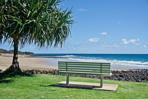 Seat, View, Outlook, Sea, Ocean, Beach, Surf, Sand