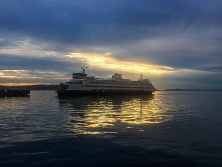 Ferry, Seattle, Water, Skyline, Washington, Puget