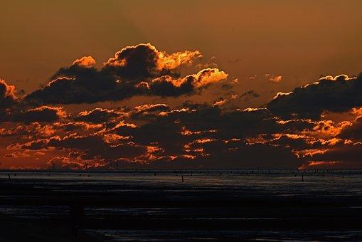 Sunset, Wadden Sea, Watts, Sundown