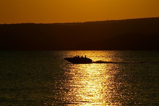 Boat On Lake Dardanelle At Sunset, Lake, Sunset, Boat