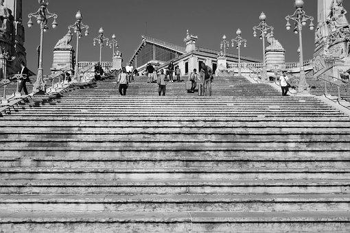 Stairs, Lines People, City, Marseille, France, Urban