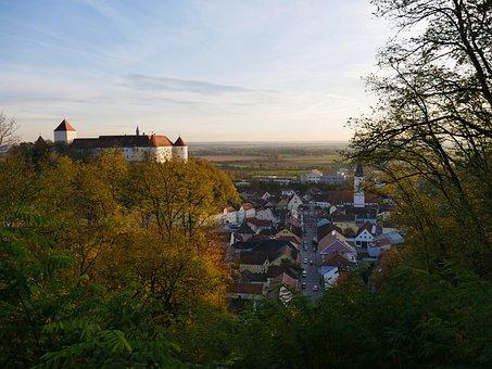 Castle, Germany, Autumn, View, Vantage Point, Bavaria