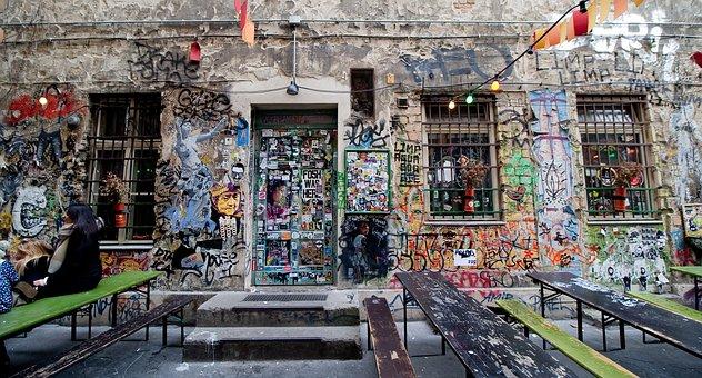 Hotels In Berlin, Germany, Graffiti, Wall, Color, Pub