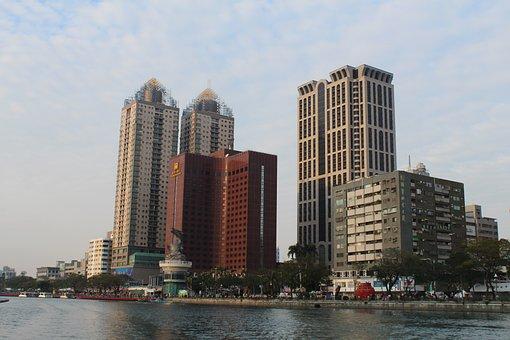 Kaoshiung, Taiwan, Asia, River, Cityscape, Architecture