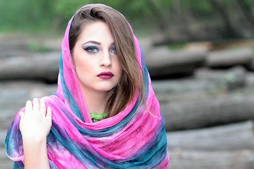 Girl, Scarf, Cover, Oriental, Blue Eyes, Coloring