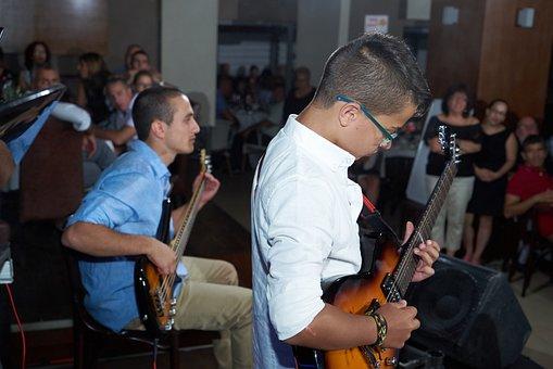 Guitar, Show, Bar Mitzvah, Man, Boy, Concert Guitars