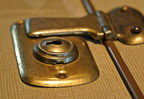 Luggage, Castle, Closure, Latch, Old, Brass