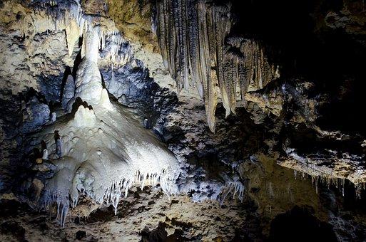 Stalagtit, Cave, Stalactite, White, Blue, Swiss Francs