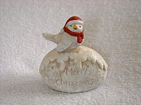 Figurine, Christmas, Little Bird, Christmas Hat