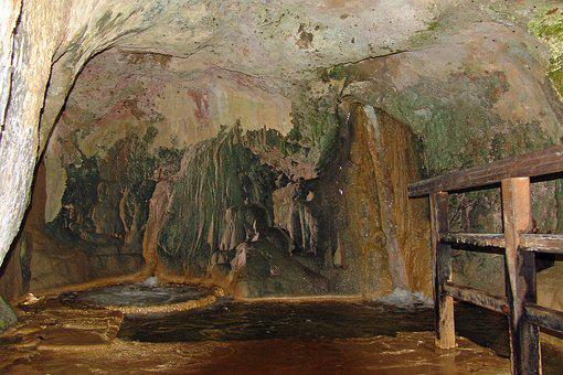Cave, Waterfall, Underground, Color, Nature Park