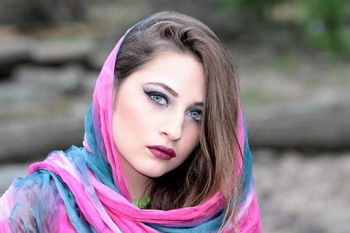 Girl, Scarf, Covered, Oriental, Blue Eyes, Beauty