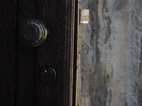 Door, Latch, Key, Wall